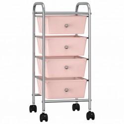 stradeXL Wózek z 4 szufladami, różowy, plastikowy