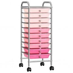 stradeXL Wózek z 10 szufladami, róż ombre, plastikowy