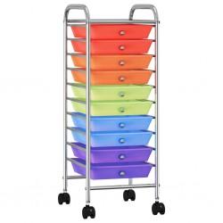 stradeXL Wózek z 10 szufladami, kolorowy, plastikowy