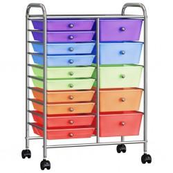 stradeXL Wózek XXL z 15 szufladami, kolorowy, plastikowy
