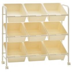 stradeXL Regał na kółkach z 9 szufladami na zabawki, biały, plastikowy