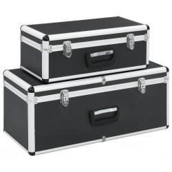 stradeXL Skrzynie do przechowywania, 2 szt., czarne, aluminiowe