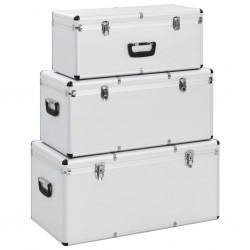 stradeXL Skrzynie do przechowywania, 3 szt., srebrne, aluminiowe