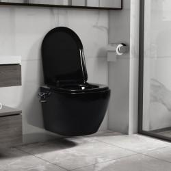 stradeXL Wisząca toaleta bez kołnierza, funkcja bidetu, ceramika, czarna