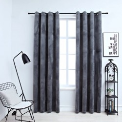 stradeXL Blackout Curtains with Rings 2 pcs Velvet Anthracite 140x225 cm