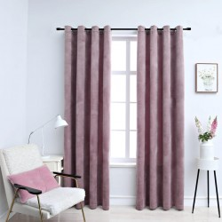 stradeXL Blackout Curtains with Rings 2pcs Velvet Antique Pink 140x245cm