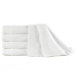 stradeXL Ręczniki do rąk, 5 szt., bawełna, 450 g/m², 50x100 cm, białe