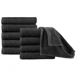 stradeXL Guest Towels 10 pcs Cotton 450 gsm 30x50 cm Black