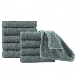 stradeXL Guest Towels 10 pcs Cotton 450 gsm 30x50 cm Green