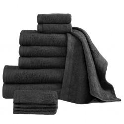 stradeXL Komplet 12 ręczników, bawełna, 450 g/m², czarny