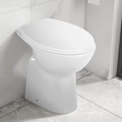 stradeXL Wysoka toaleta bez kołnierza, ciche zamykanie, ceramika, biała