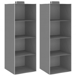 stradeXL Hanging Closet Organisers 2 pcs with 4 Shelves Fabric