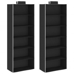 stradeXL Hanging Closet Organisers 2 pcs with 6 Shelves Fabric