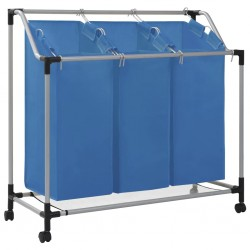 stradeXL Laundry Sorter with 3 Bags Blue Steel