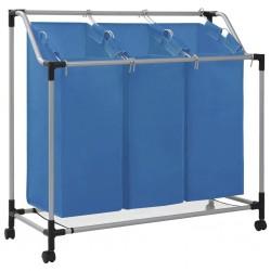 stradeXL Sortownik na pranie z 3 pojemnikami, niebieski, stalowy