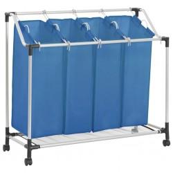 stradeXL Sortownik na pranie z 4 pojemnikami, niebieski, stalowy