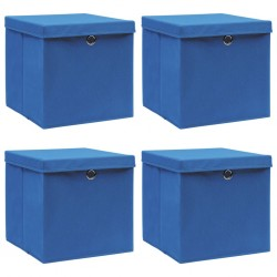 stradeXL Storage Boxes with Lids 4 pcs Blue 32x32x32 cm Fabric