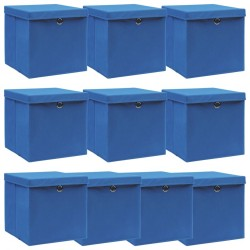stradeXL Storage Boxes with Lids 10 pcs Blue 32x32x32 cm Fabric