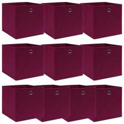 stradeXL 10 pudełek z pokrywami, ciemnoczerwone, 32x32x32 cm, tkanina