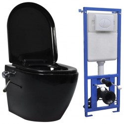 stradeXL Toaleta bezkołnierzowa ze spłuczką podtynkową, ceramika, czarna
