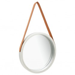 stradeXL Wall Mirror with Strap 40 cm Silver