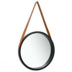 stradeXL Wall Mirror with Strap 40 cm Black