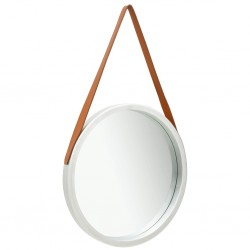 stradeXL Wall Mirror with Strap 50 cm Silver