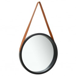 stradeXL Wall Mirror with Strap 50 cm Black