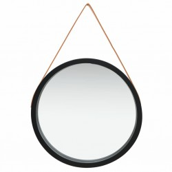 stradeXL Wall Mirror with Strap 60 cm Black