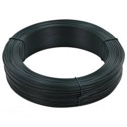 stradeXL Drut naciągowy do ogrodzenia, 250 m, 1,4/2 mm, stalowy, zielony