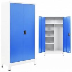 stradeXL Szafa 2-drzwiowa z zamkiem, metal, 90x40x180cm, szaro-niebieska