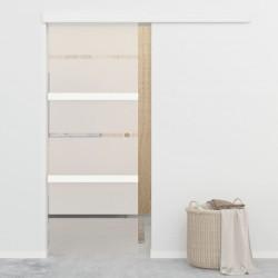 stradeXL Drzwi przesuwne, szkło ESG i aluminium, 76x205 cm, srebrne