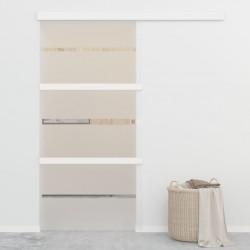 stradeXL Drzwi przesuwne, ograniczniki, szkło ESG, 102,5x205 cm, srebrne