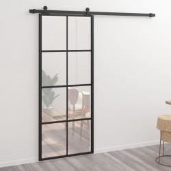 stradeXL Drzwi przesuwne, aluminium i szkło ESG, 76x205 cm, czarne