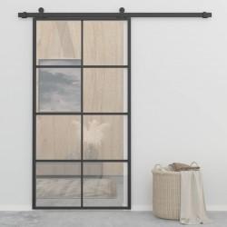stradeXL Drzwi przesuwne, aluminium i szkło ESG, 102,5x205 cm, czarne