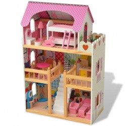 stradeXL 3-poziomowy domek dla lalek 60x30x90 cm, drewno