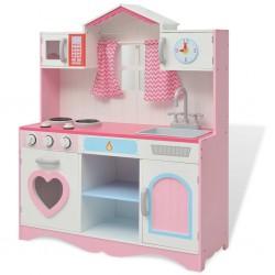 stradeXL Kuchnia zabawkowa 82x30x100 cm, drewno, różowo-biała