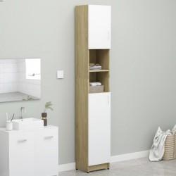 stradeXL Szafka łazienkowa, biel i dąb sonoma, 32x25,5x190 cm, płyta