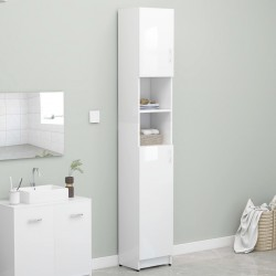 stradeXL Bathroom Cabinet High Gloss White 32x25.5x190 cm Chipboard