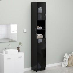stradeXL Szafka łazienkowa, czarny z połyskiem, 32x25,5x190 cm, płyta