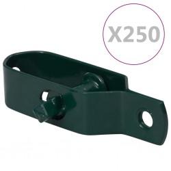 stradeXL Napinacze do siatki drucianej, 250 szt., 100 mm, stal, zielone