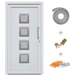 stradeXL Drzwi wejściowe zewnętrzne, białe, 108 x 200 cm