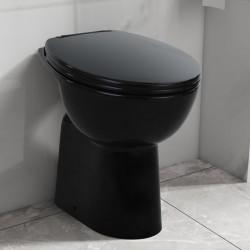 stradeXL Wysoka toaleta bez kołnierza, ciche zamykanie, ceramika, czarna