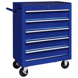stradeXL Warsztatowy wózek narzędziowy z 5 szufladami, niebieski