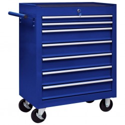 stradeXL Warsztatowy wózek narzędziowy z 7 szufladami, niebieski