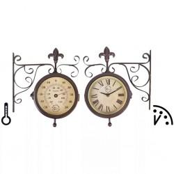 Esschert Design Zegar dworcowy z termometrem, TF005