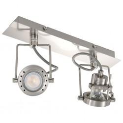 stradeXL Lampa z 2 reflektorami, srebrna, GU10