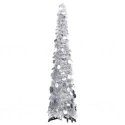 stradeXL Pop-up Artificial Christmas Tree Silver 120 cm PET