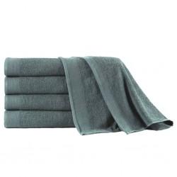 stradeXL Ręczniki kąpielowe, 5 szt, bawełna 450 g/m², 100x150 cm, zieleń