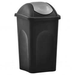stradeXL Kosz na śmieci z uchylną klapką, 60 L, czarno-srebrny